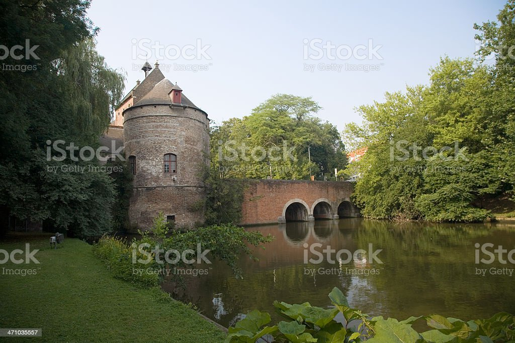 Medieval gate entrance to Bruges city royalty-free stock photo