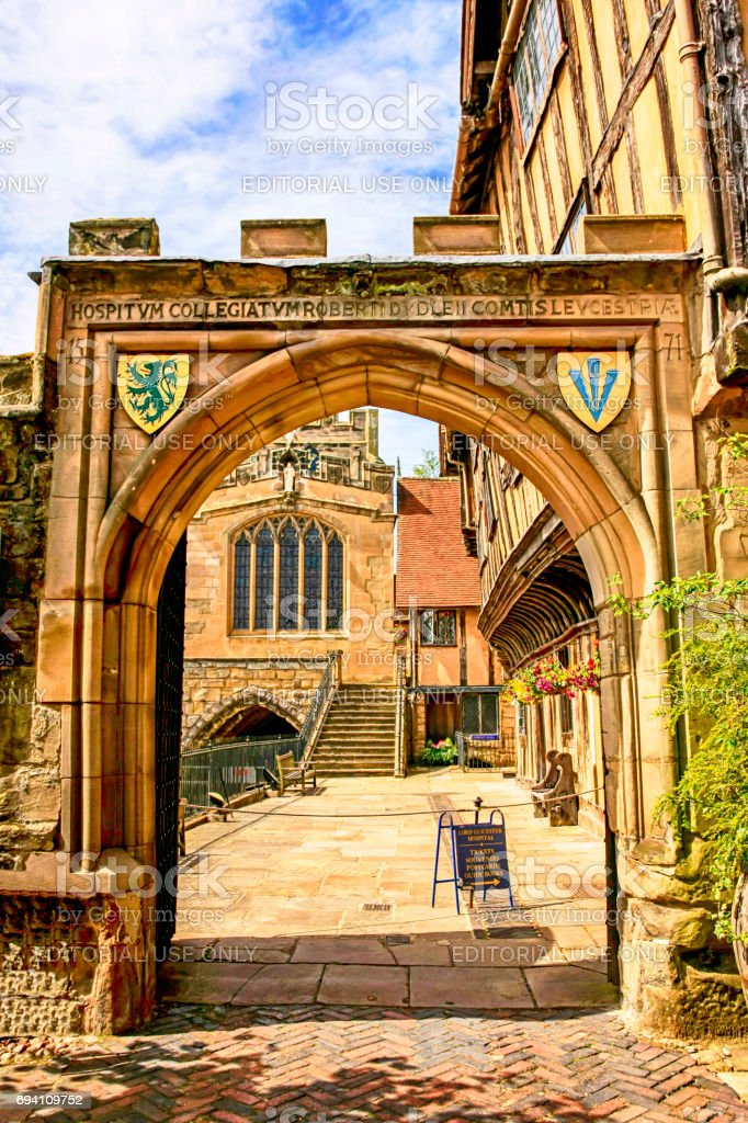 Medieval Gateway outside the Lord Leycester Hospital in Warwick, UK stock photo
