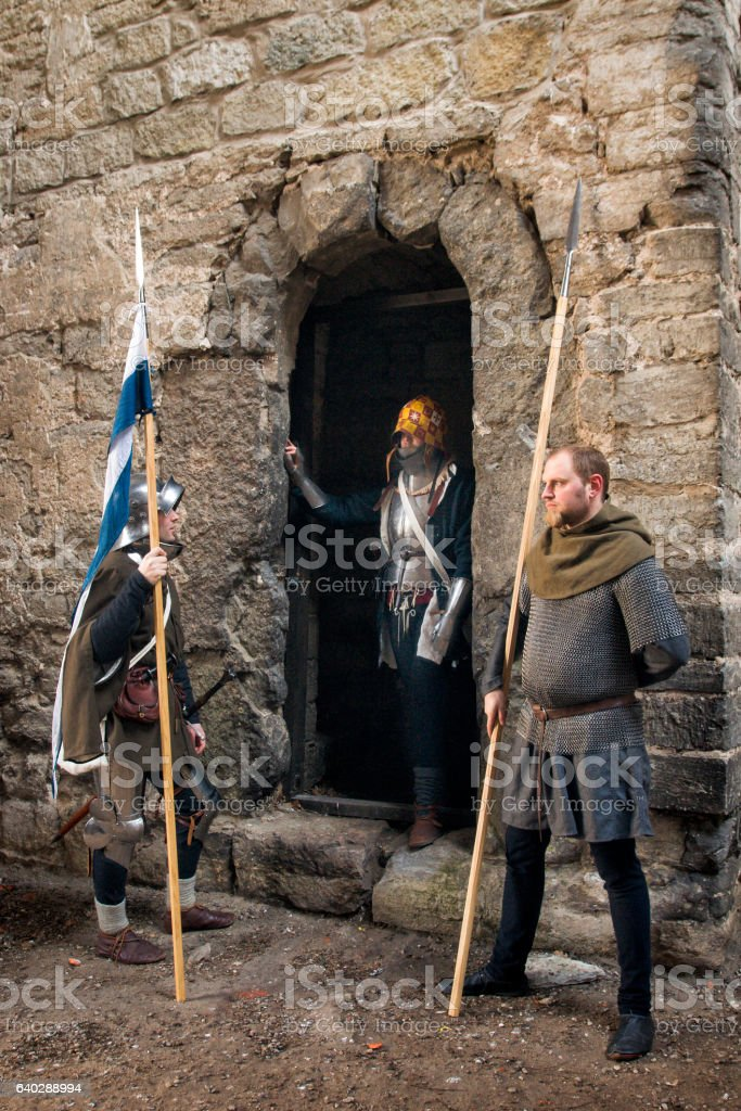 Medieval guarded entrance stock photo