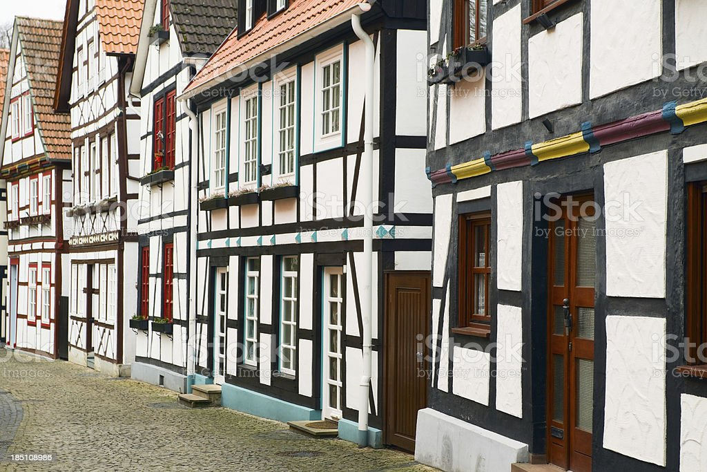 Medieval half-timbered buildings in Paderborn stock photo