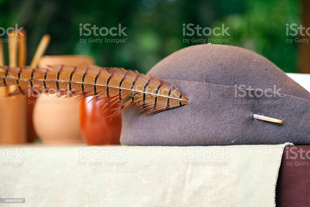 Medieval hat. Color image stock photo