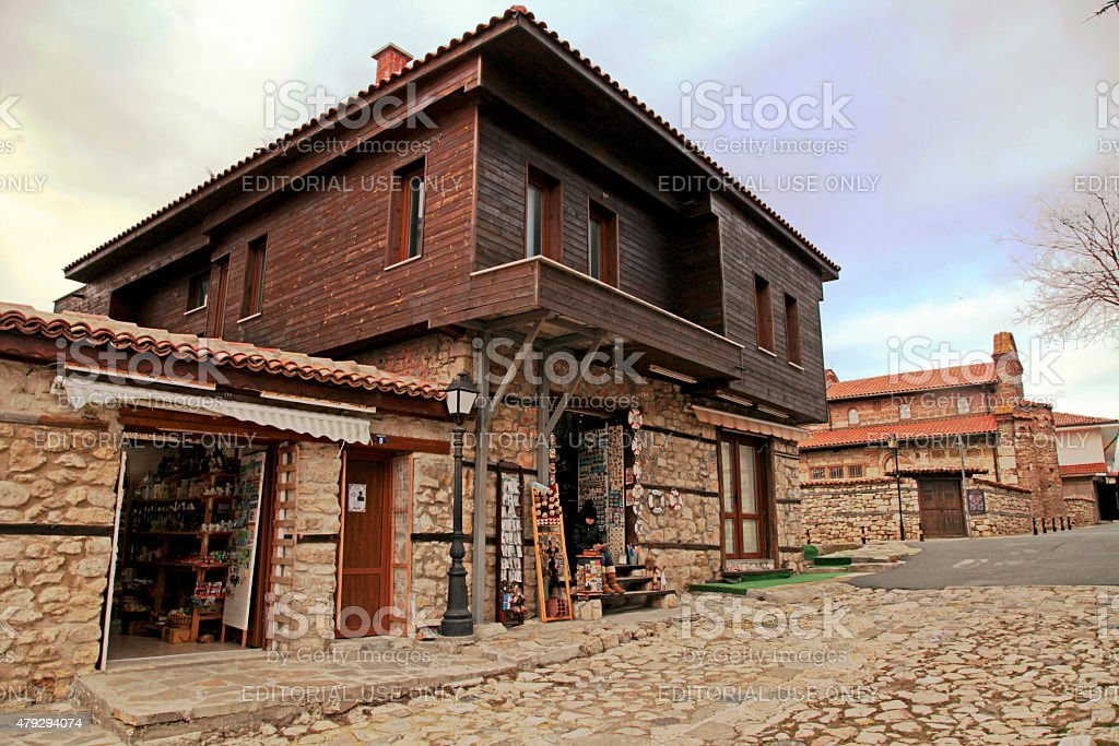 medieval houses in the Old Town of Nesebar, Bulgaria stock photo
