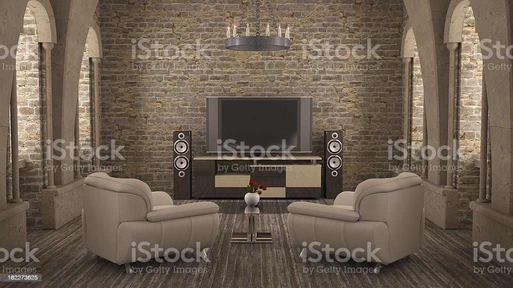 Medieval interior stock photo