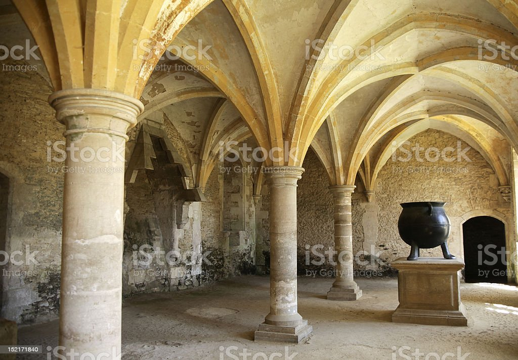 Medieval kitchen with cauldron stock photo