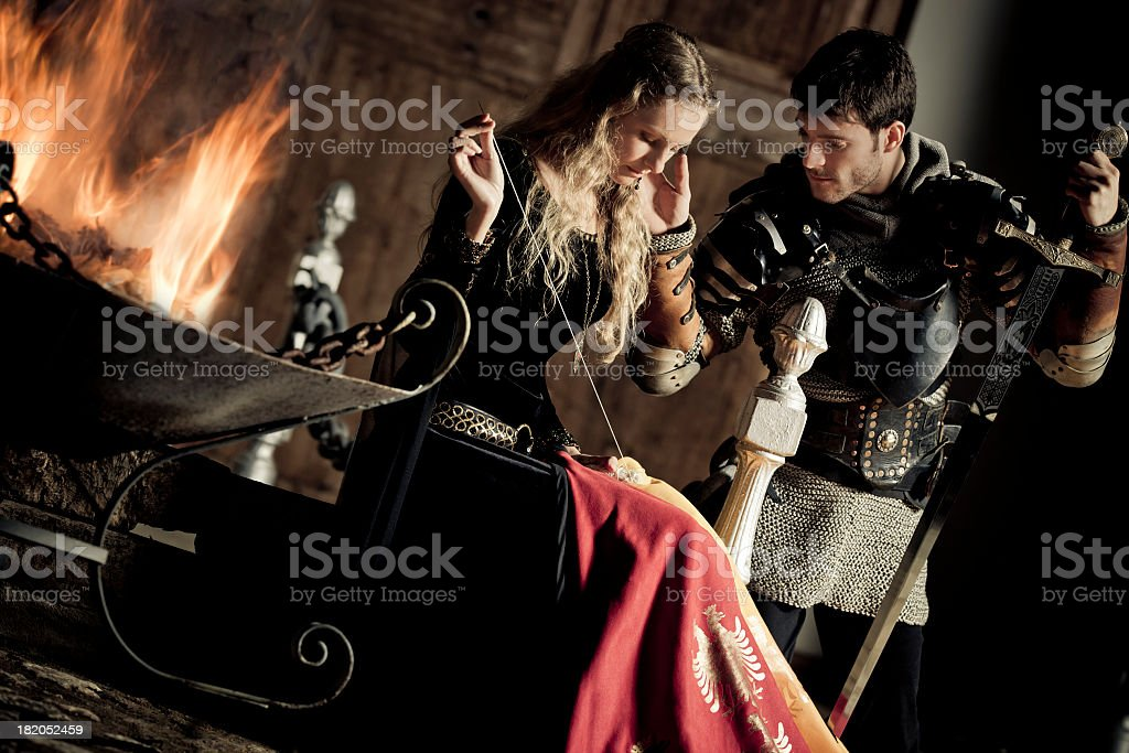 medieval knight and lady stock photo
