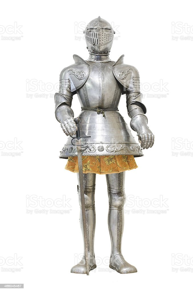 Medieval knight armour over white isolated background stock photo