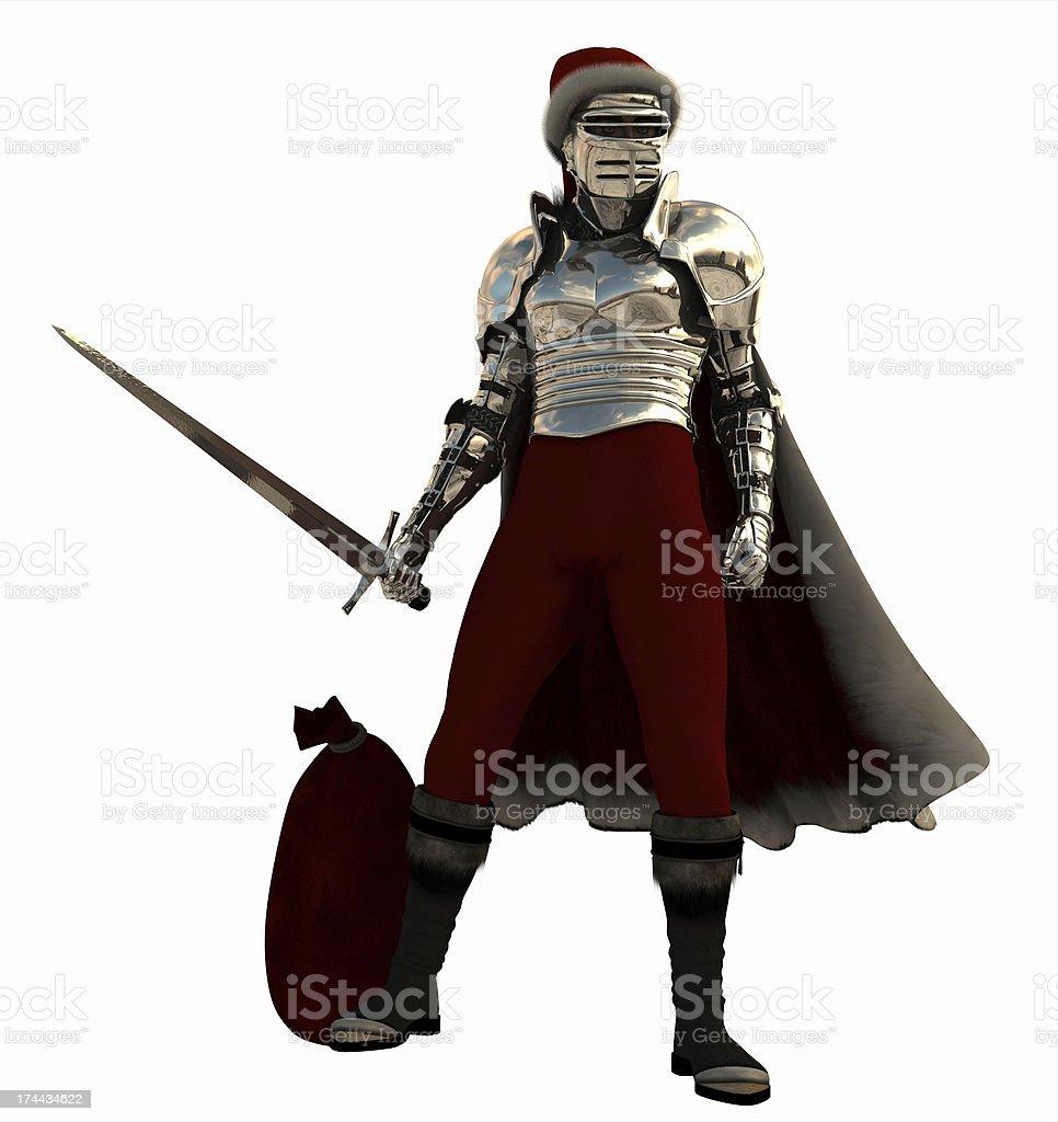 Medieval Knight as Christmas Santa royalty-free stock photo