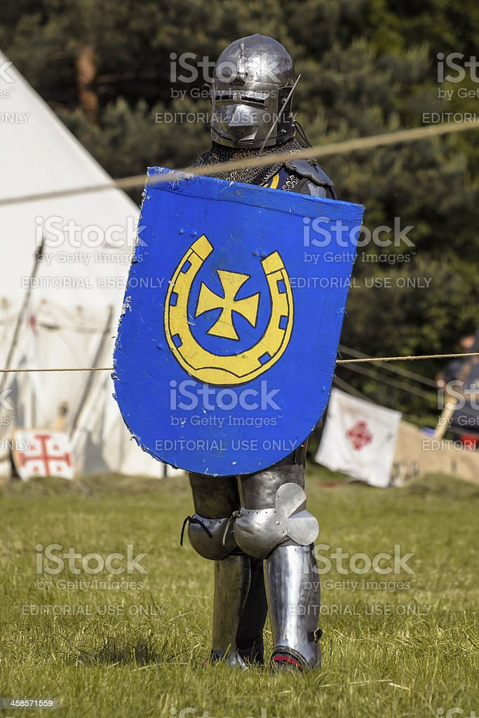 Medieval knight before fight royalty-free stock photo