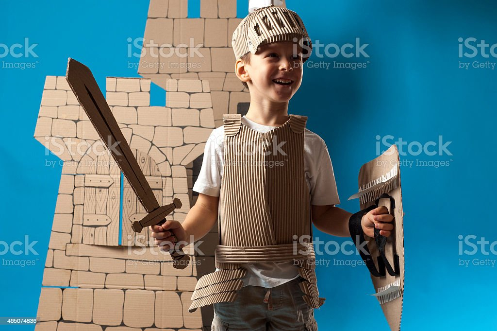 medieval knight child stock photo