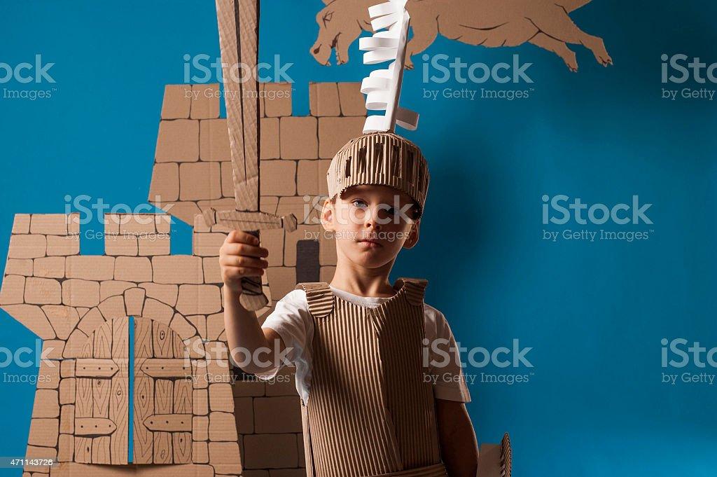 medieval knight child stock photo