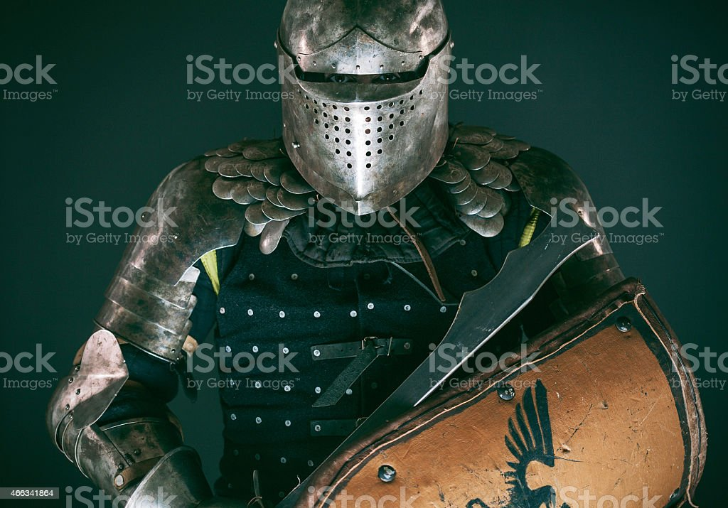 Medieval knight dressed for Medieval combat fight sport. stock photo