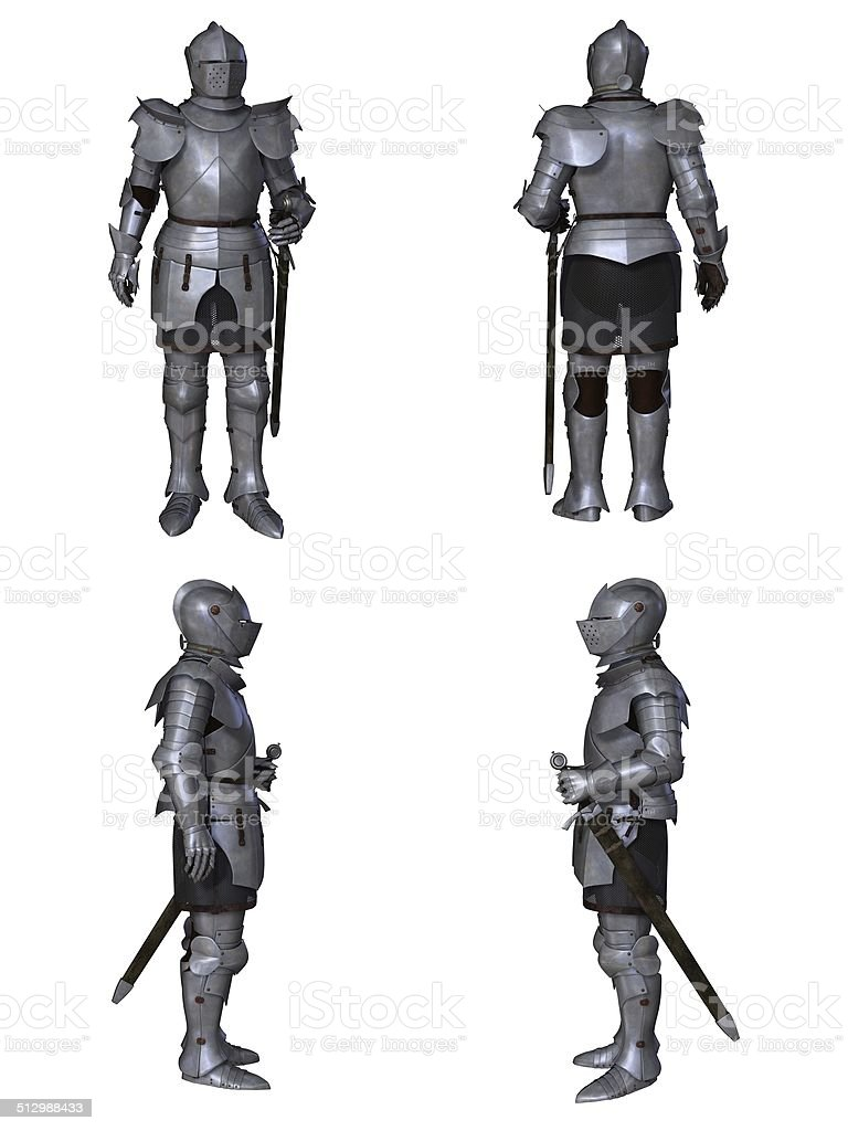 Medieval Knight Fantasy Character Set (Milanese) stock photo