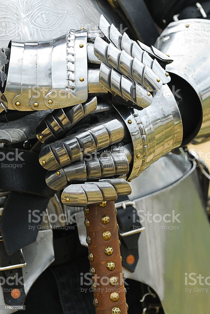 Medieval Knight Holding Weapon royalty-free stock photo