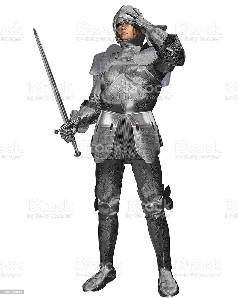 Medieval Knight in Decorated Armour stock photo