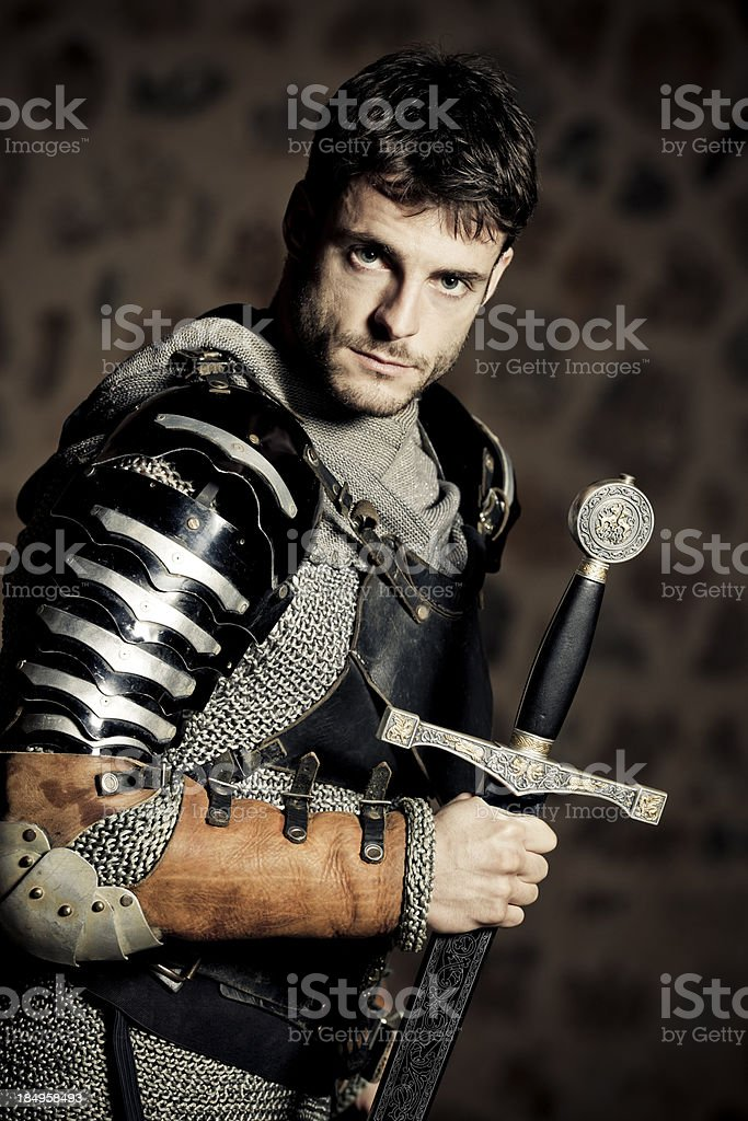 Medieval Knight in the darkness royalty-free stock photo