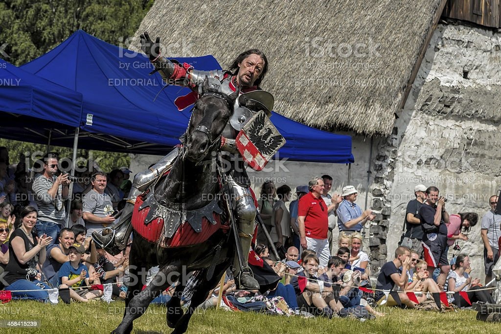 Medieval knight on horseback royalty-free stock photo