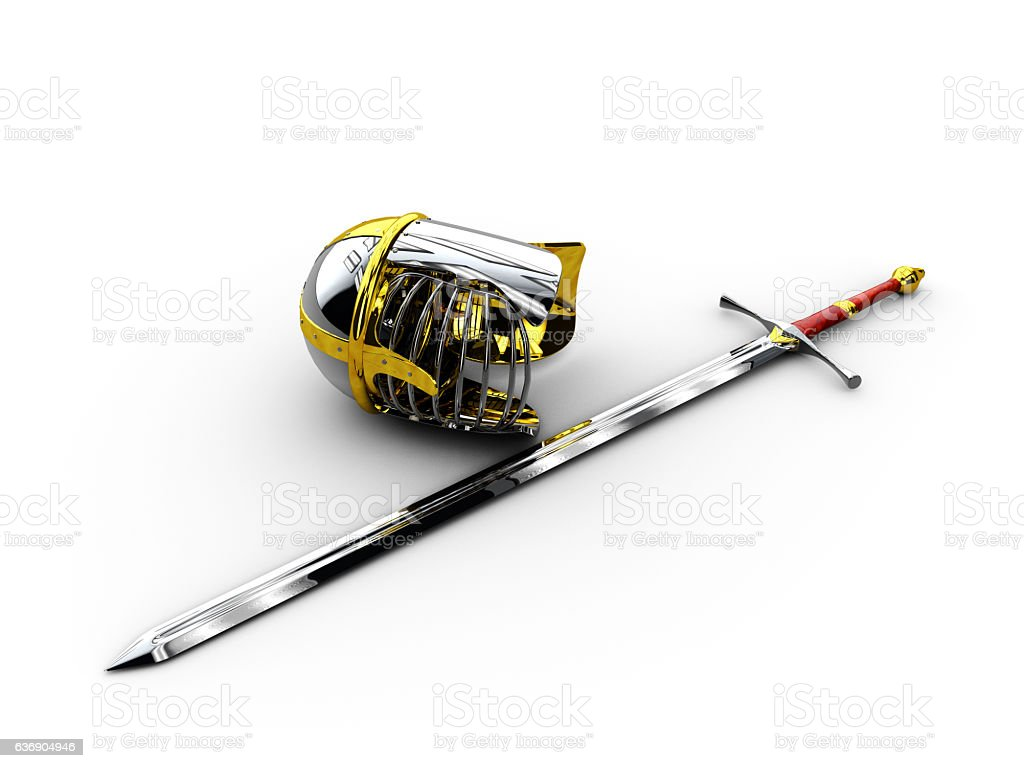 medieval knight sword and helmet 3d illustration isolated stock photo