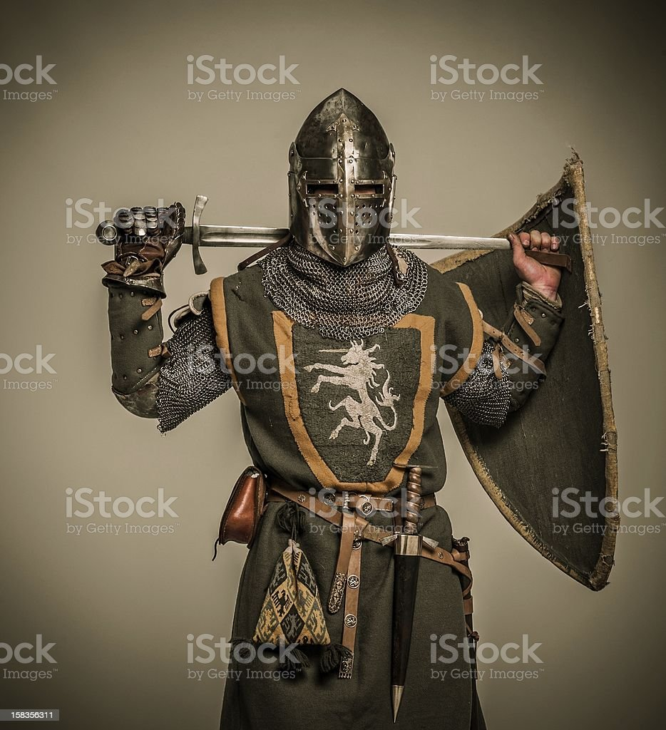 Medieval knight with a sword stock photo