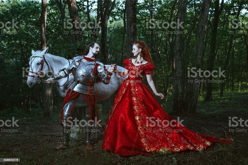 Medieval knight with lady stock photo