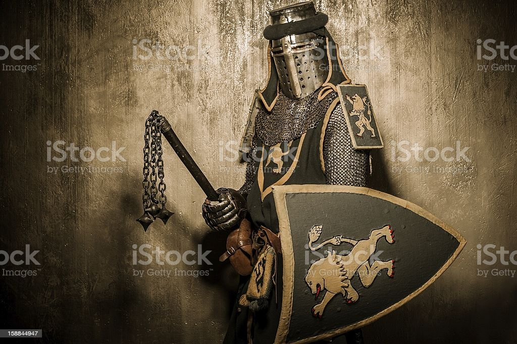 Medieval knight with weapon stock photo