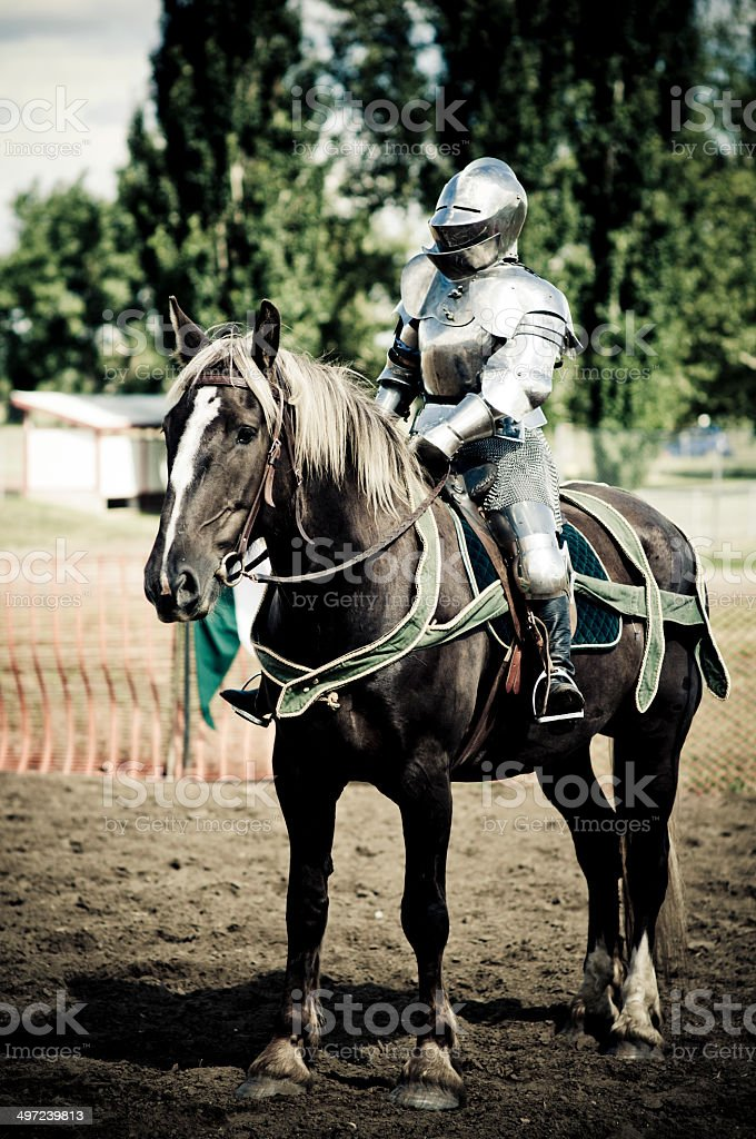 Medieval Knights Jousting stock photo