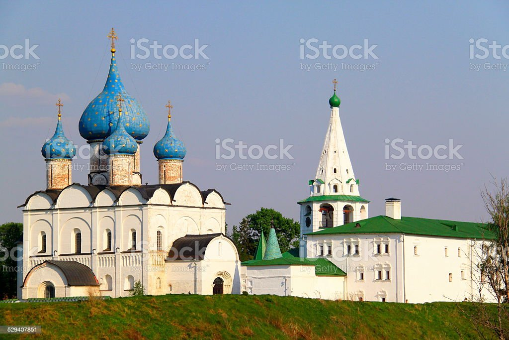 Medieval Kremlin and Orthodox Cathedral of Nativity - Suzdal, Russia stock photo
