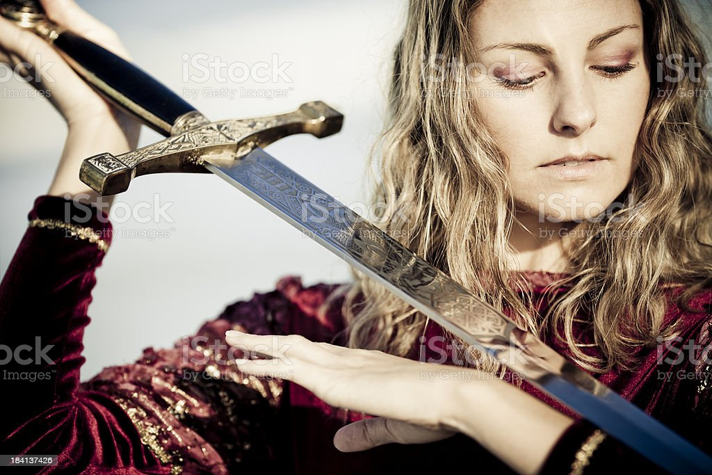 medieval lady of sword royalty-free stock photo
