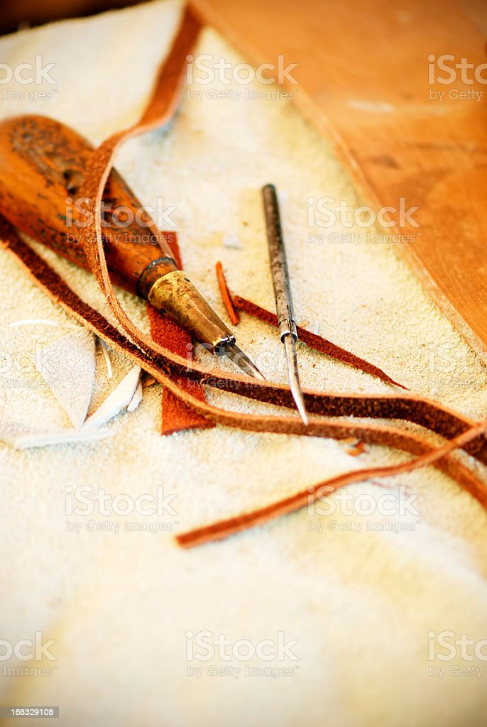 Medieval leather handicraft royalty-free stock photo