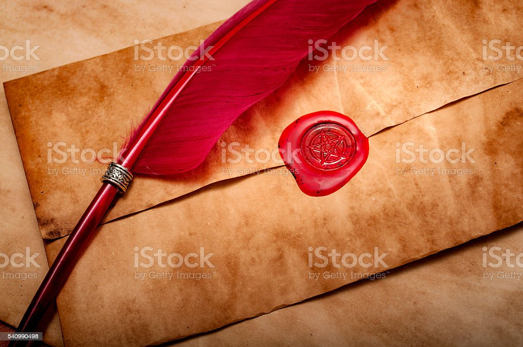 Medieval letter with a pentagram red wax seal stock photo