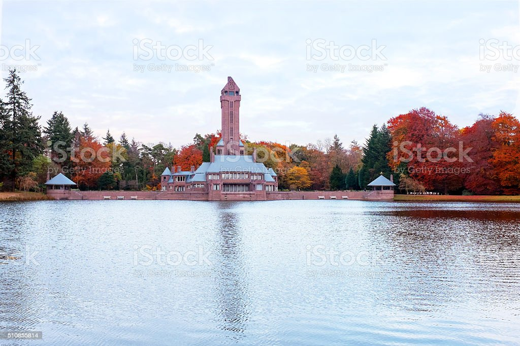 Medieval lodge on Hoge Veluwe in the Netherlands stock photo