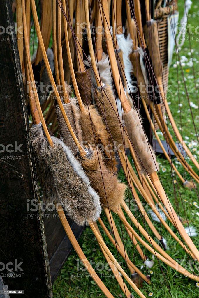 Medieval longbow stock photo