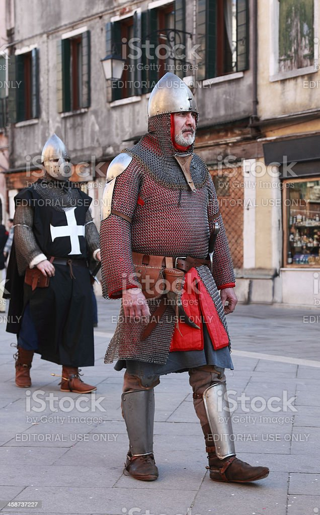 Medieval man in armour stock photo