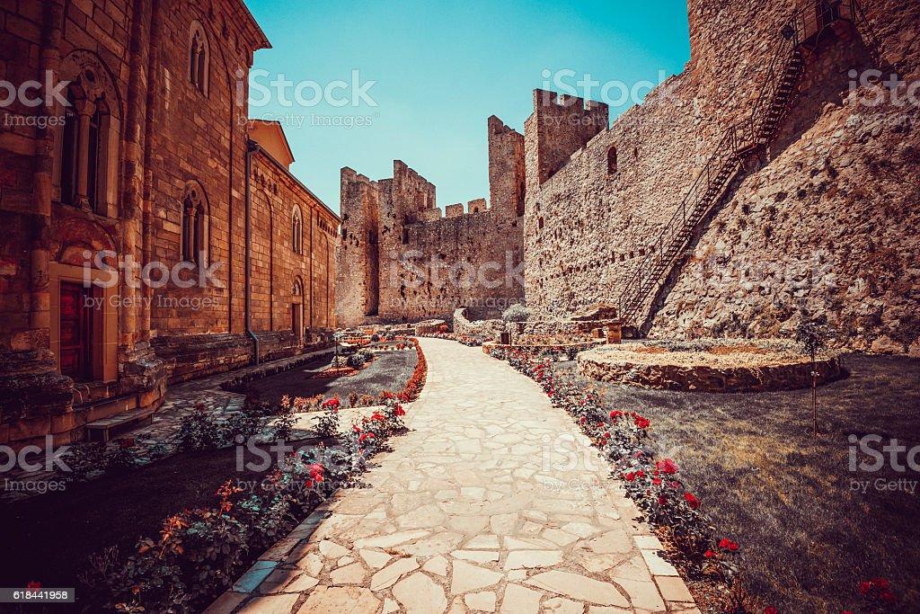 Medieval Manasija Monastery, Serbia. stock photo