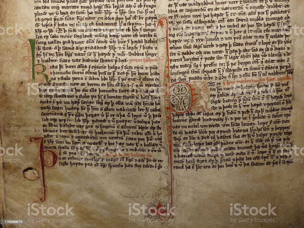 Medieval manuscript stock photo