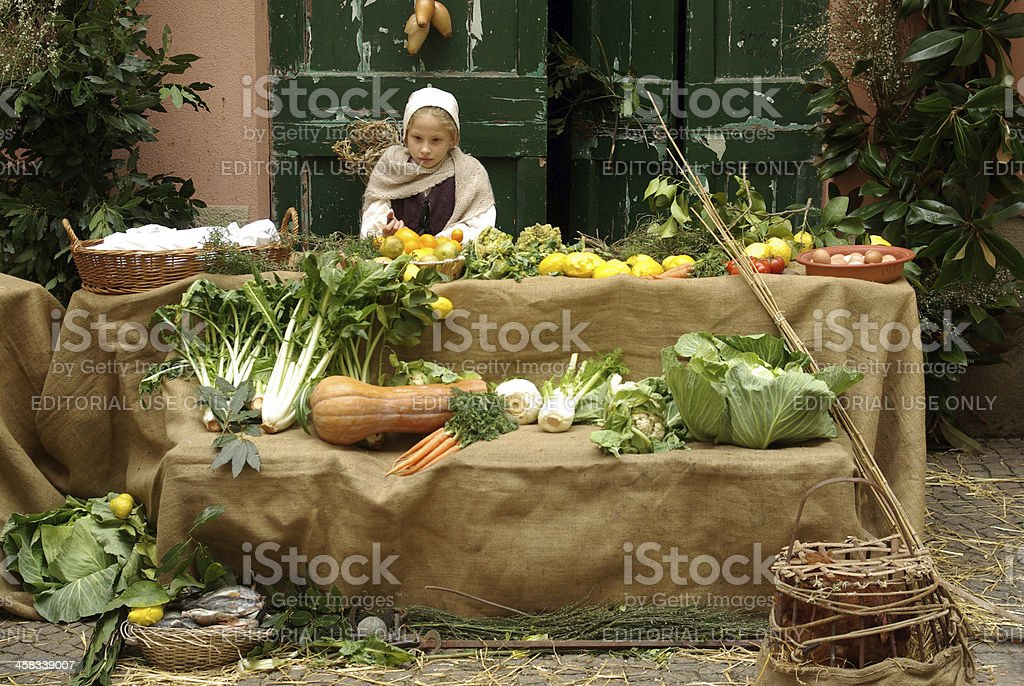 Medieval market stock photo