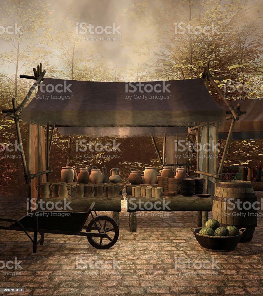 Medieval market stall stock photo