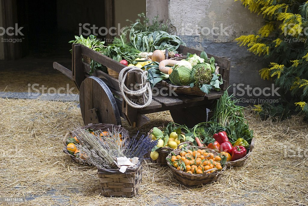 Medieval market stall selling fruit stock photo