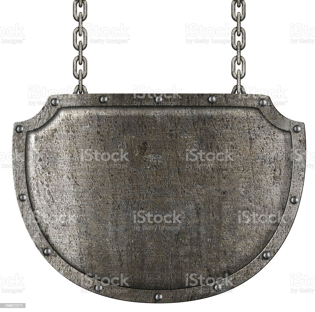 medieval metal signboard hanging on chains isolated stock photo