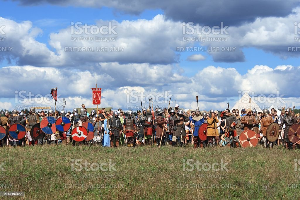 medieval military festival Voinovo Pole (Warriors' Field) stock photo