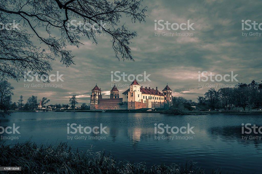 Medieval Mir Castle Complex in Belarus stock photo