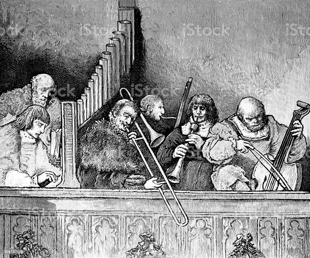 Medieval Musicians Playing Music stock photo
