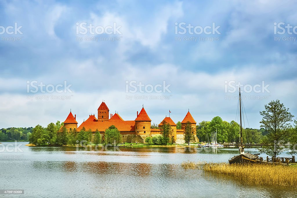 Medieval old castle in Trakai, Lithuania stock photo