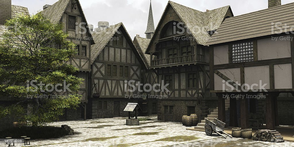 Medieval or Fantasy Town Centre Marketplace stock photo