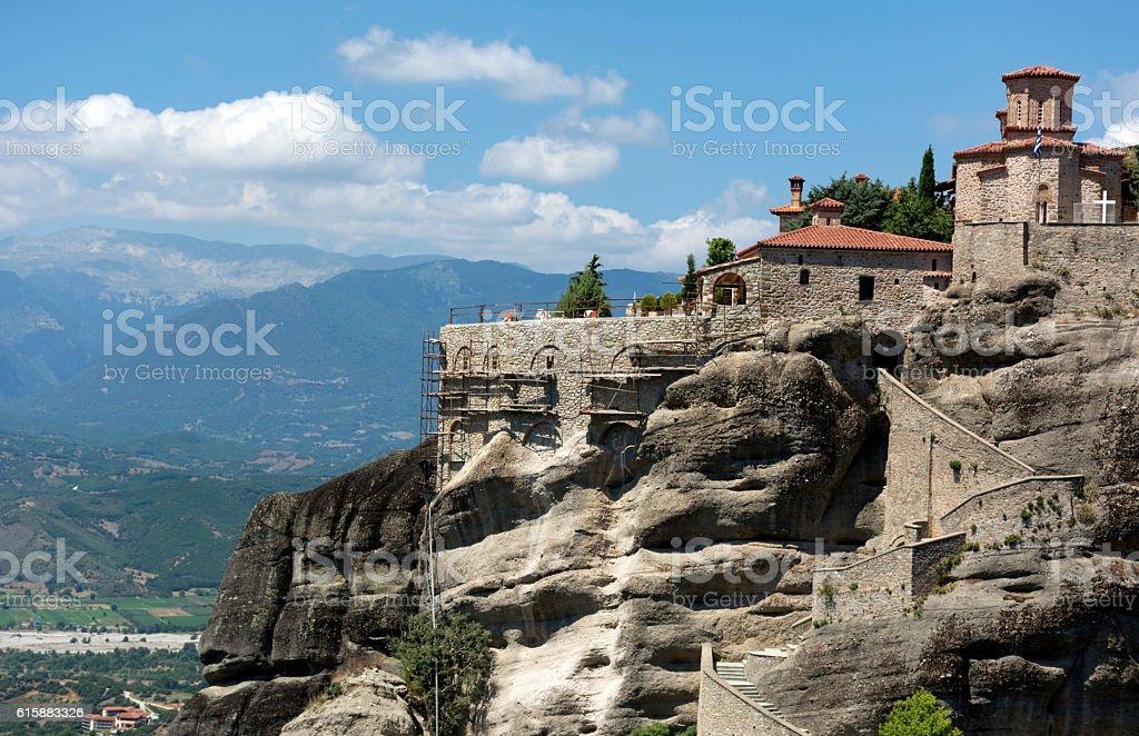 medieval Orthodox monastery Meteora, Greece stock photo