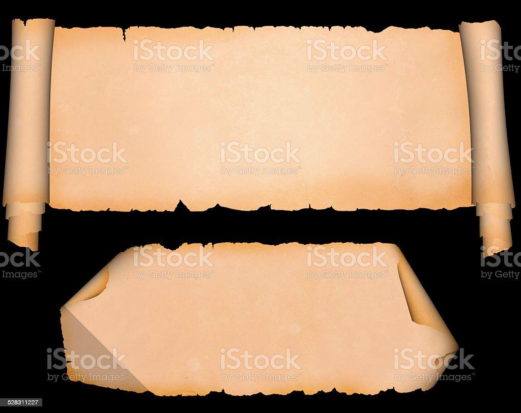 Medieval parchment set. stock photo