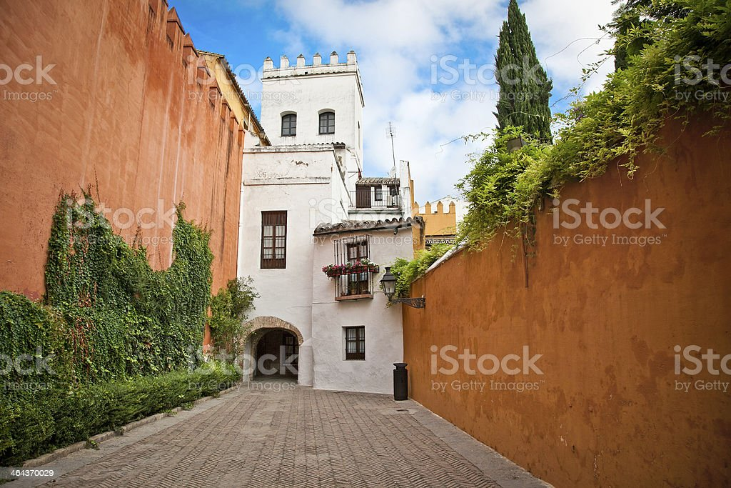 Medieval passageway in old part of Seville , Spain. royalty-free stock photo