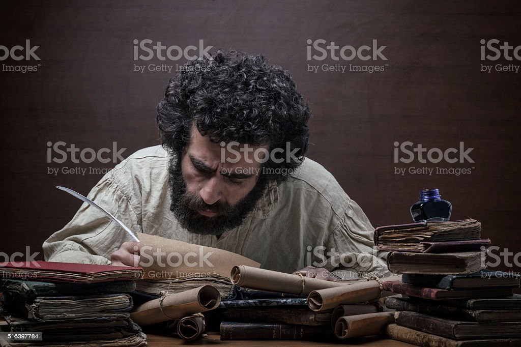 Medieval philosopher in search for inspiration stock photo