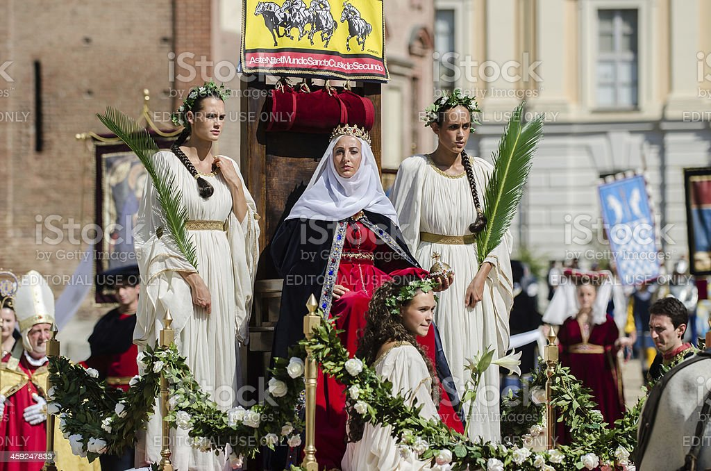 Medieval princess on the throne stock photo