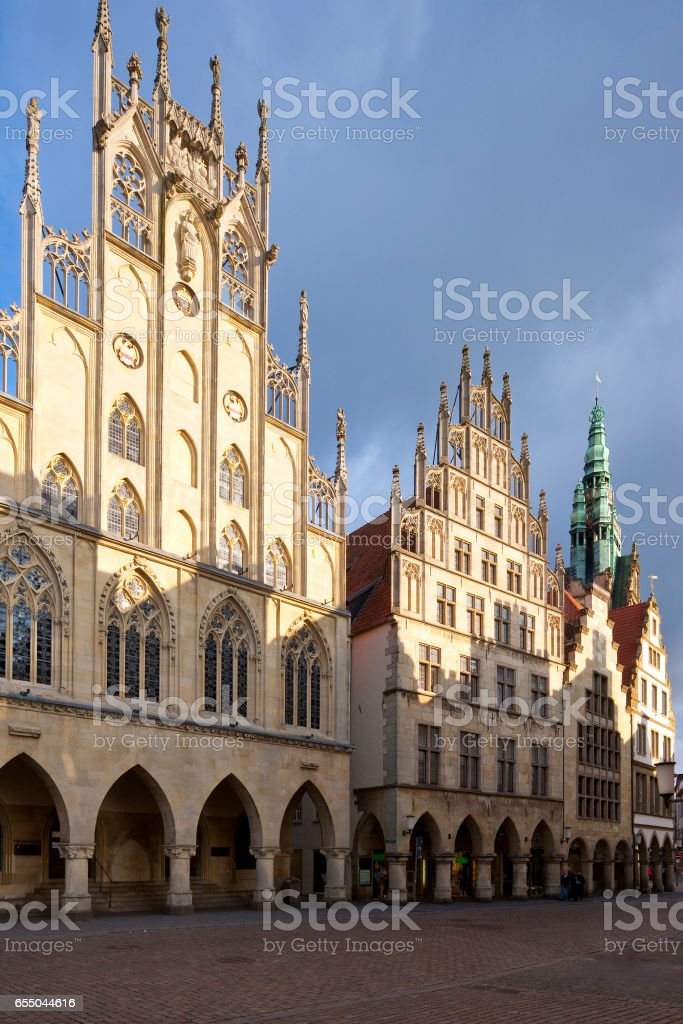 Medieval Prinzipalmarkt and Town Hall, Münster, Germany stock photo