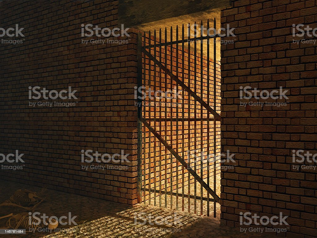 medieval prison cell stock photo